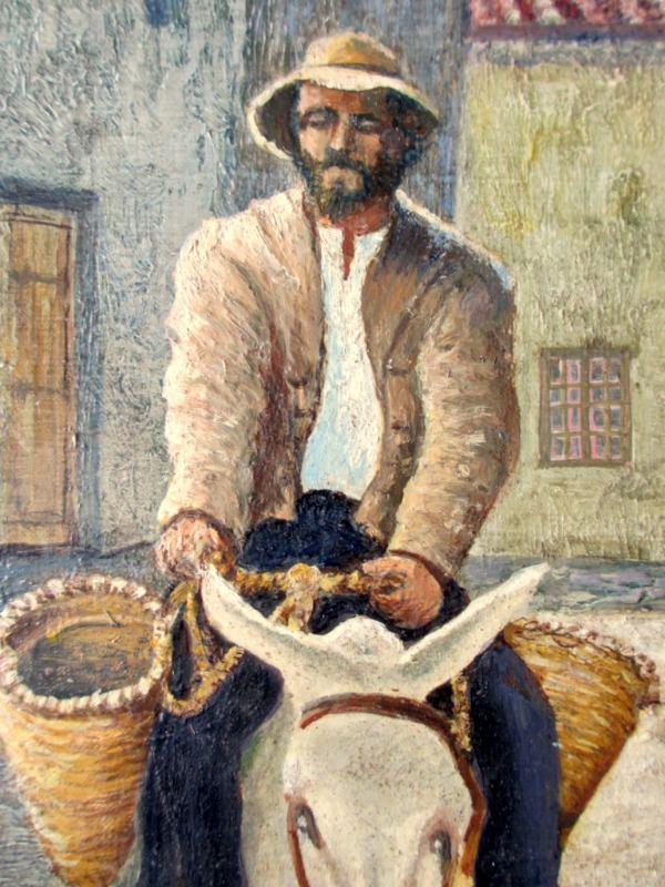 An Itinerant Seller on a Donkey in a Spanish Street, oil on board, signed G Macmillan. c1970. Detail.