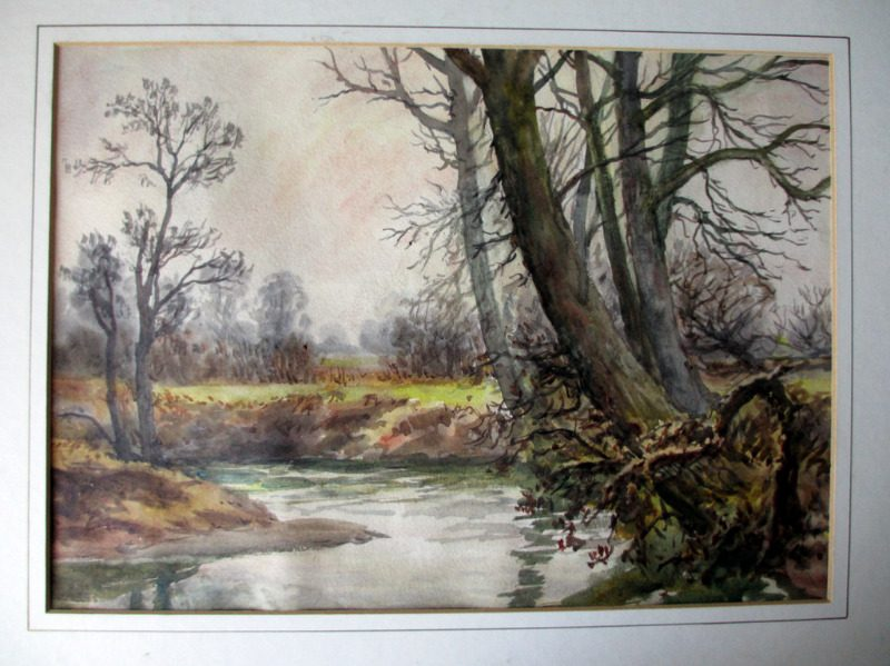 The brook Near Wigston, watercolour, H. Bates, 1942.