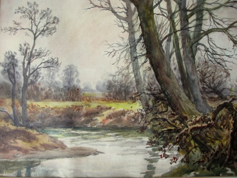The brook Near Wigston, watercolour, H. Bates, 1942. Detail.