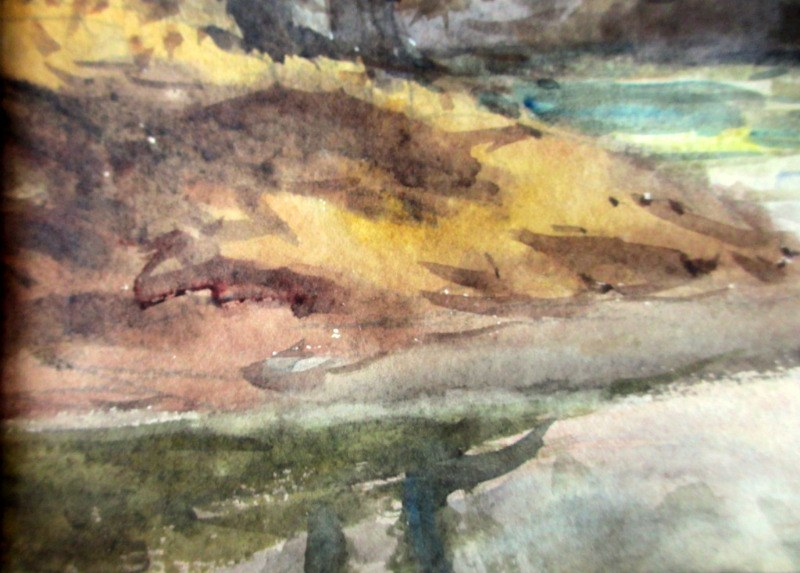 The brook Near Wigston, watercolour, H. Bates, 1942. Detail. Lower lh corner.