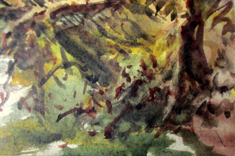 The brook Near Wigston, watercolour, H. Bates, 1942. Detail. Lower rh corner.