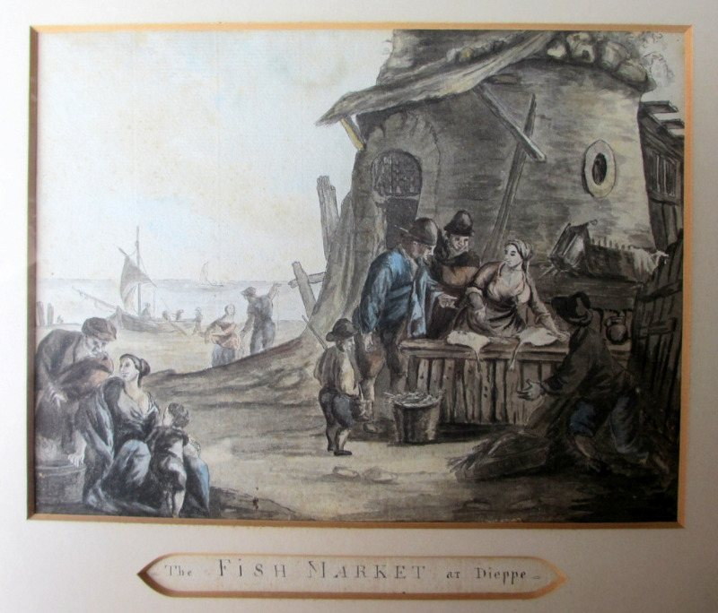 The Fish Market at Dieppe, pen, ink and watercolour, indistinctly signed. c1880. Detail.