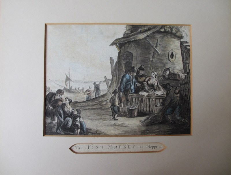 The Fish Market at Dieppe, pen, ink and watercolour, indistinctly signed. c1880. Detail. Removed from frame.