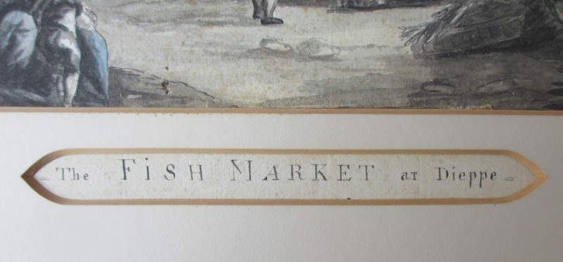 The Fish Market at Dieppe, pen, ink and watercolour, indistinctly signed. c1880. Detail. Title, removed from frame.