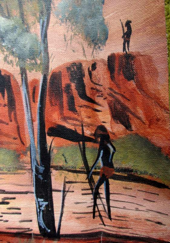 Man Hunting at Sunset, acrylic on canvas, signed Bevan Young. 2000. Detail.