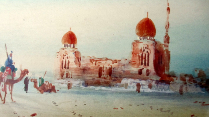 Caliiphs Tombs, watercolour, signed H. Linton. c1900. Detail.