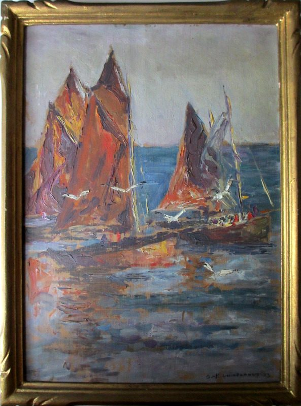 Soir Quiberon Bretagne, gouache on panel, signed  G.P. Guinegault Soir Quiberon Bretagne 1923.