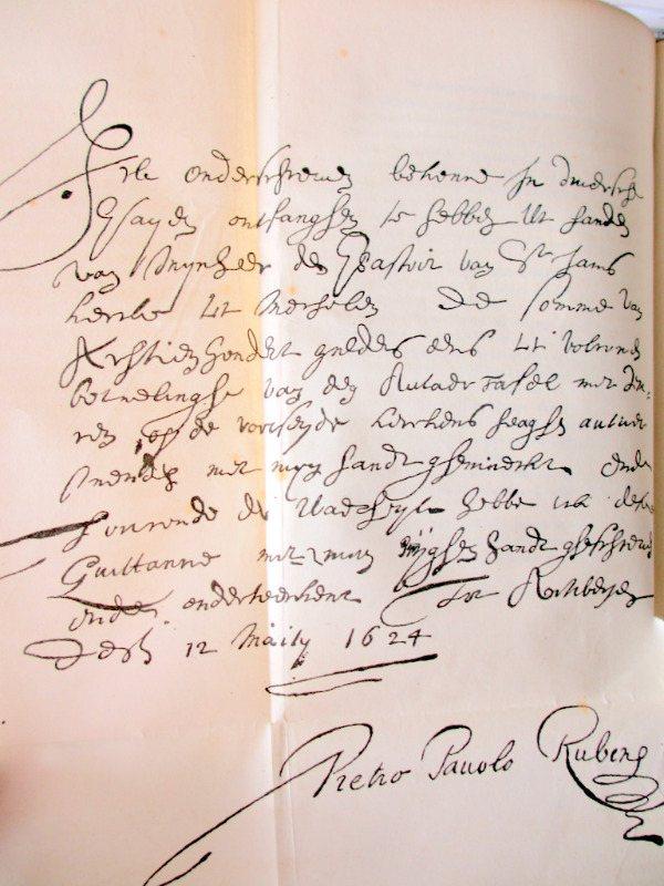 Histoire de P. - P. Rubens, par Andre' van Hasselt, 1840. Detail, Ruben's letter.