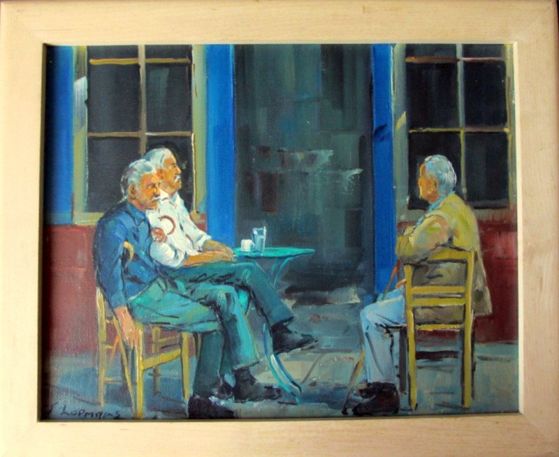 Hiatus in the Afternoon, oil on canvas, signed J. Kopmans. c1990.