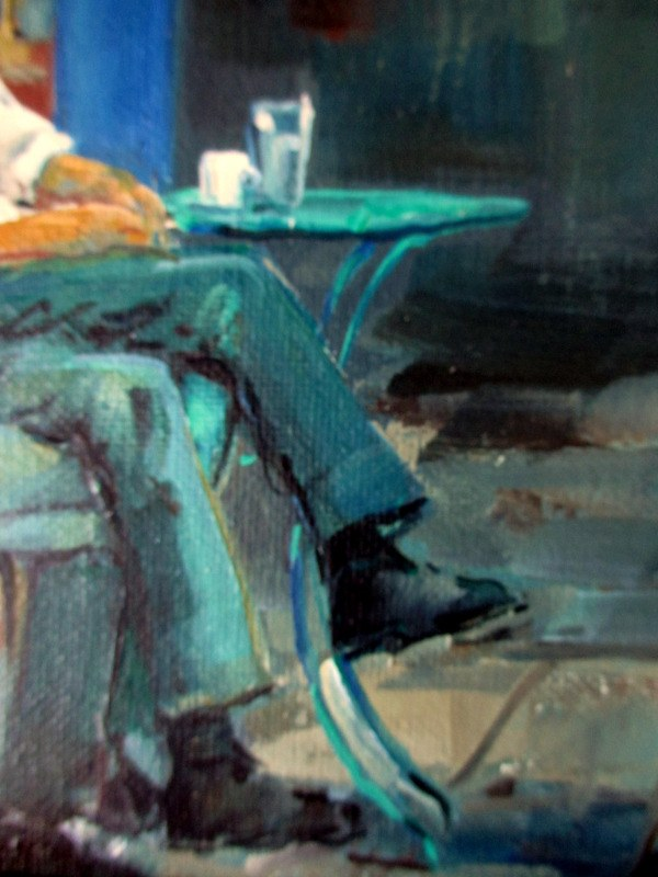 Hiatus in the Afternoon, oil on canvas, signed J. Kopmans. c1990. Detail.