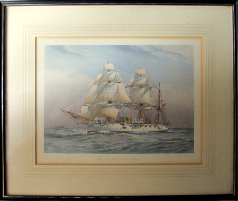 "H.M.S. Calliope 3rd Class Cruiser, chromolithograph from original watercolour titled ""Seen Off Dover"" by W. F. Mitchell, printed by J.S. Virtue & Co. Ltd., 1890."