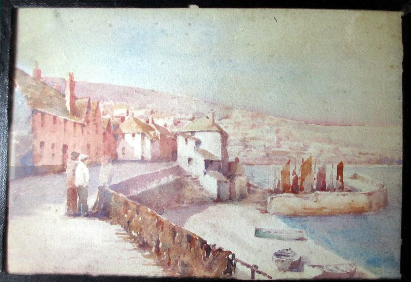 Newlyn Cornwall, watercolour on board, unsigned (attributed to T.H. Victor). c1920.