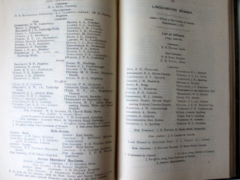 The Auctioneers' and Estate Agents' Institute of the United Kingdom. Year Book 1939. Details.
