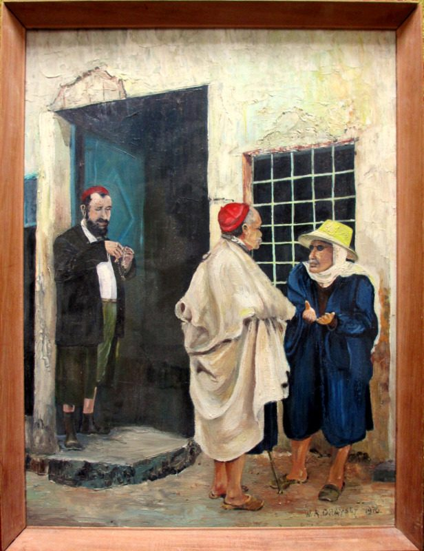 Conversation, oil on board, signed W.A. Draysey, 1970.