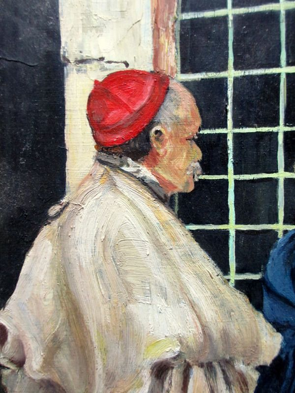 Conversation, oil on board, signed W.A. Draysey, 1970. Detail.