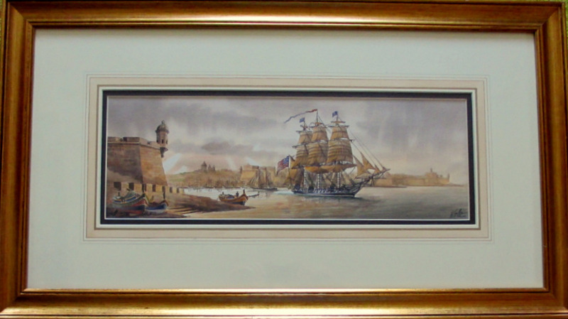 Grand Harbour USS Constitution leaving Malta Nov 1804, watercolour, signed Ed. Galea 1998.