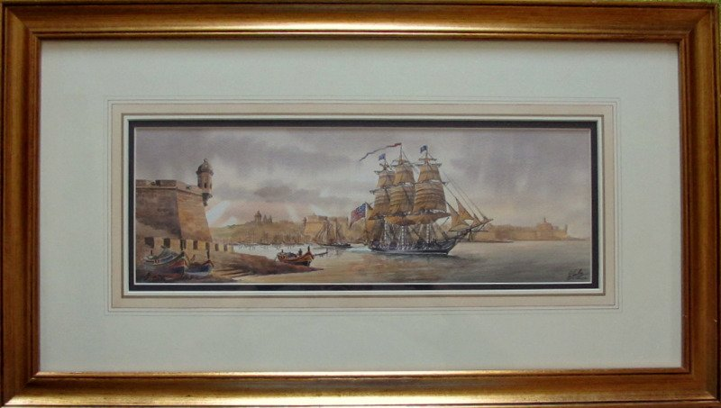 Grand Harbour Malta with USS Constitution leaving Nov 1804, watercolour, signed Ed. Galea, 1998.