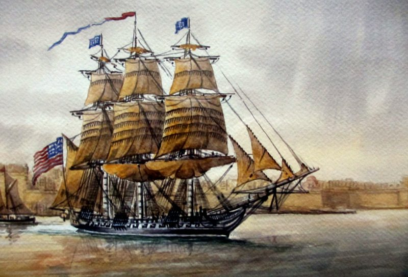 Grand Harbour Malta with USS Constitution leaving Nov 1804, watercolour, signed Ed. Galea, 1998. Detail.