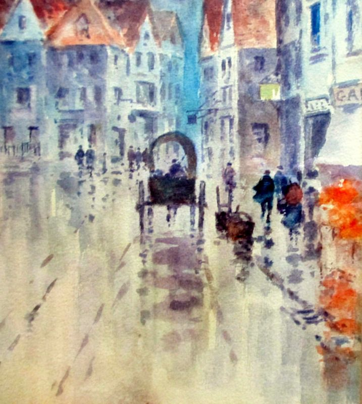 A Rainy Street Scene in Abbeville, watercolour, signed Hy Woods, c1890. Detail.