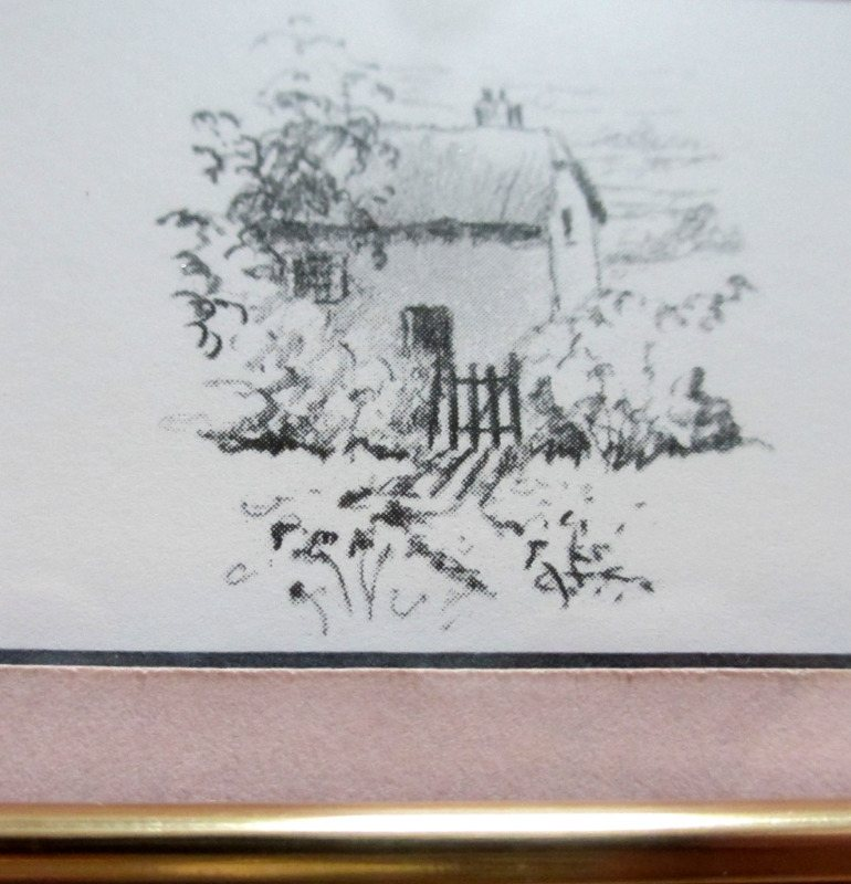 The Rose Briar, limited edition print, signed Hilary Scoffield. c1985. Detail, the cottage emblem.