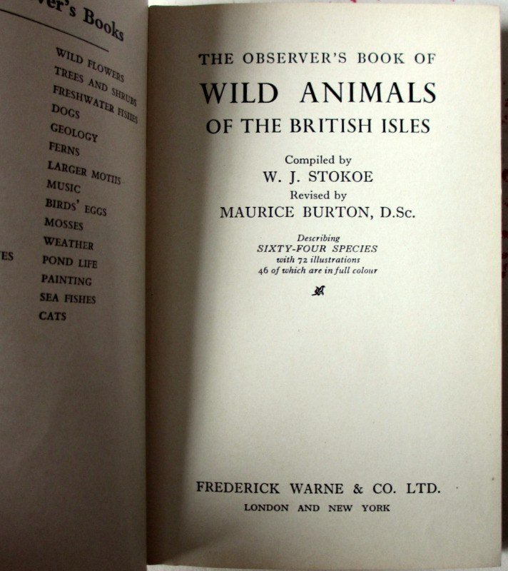 Observer's Book of Wild Animals of the British Isles, compiled W.J. Stokoe, 1958. Title page.