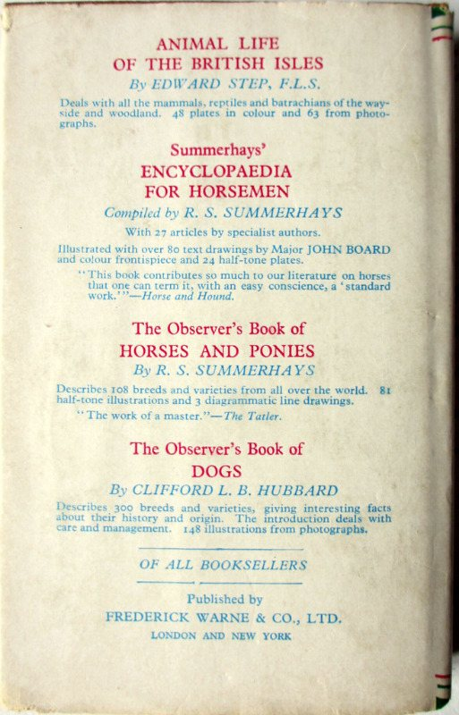 Observer's Book of Wild Animals of the British Isles, compiled W.J. Stokoe, 1958. Back DJ.