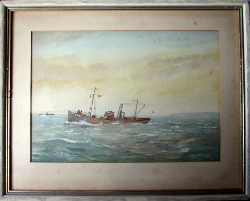 Minesweeper ST Stratherrick A105 off the coast, watercolour and gouache, R. Gurnell, 1914.