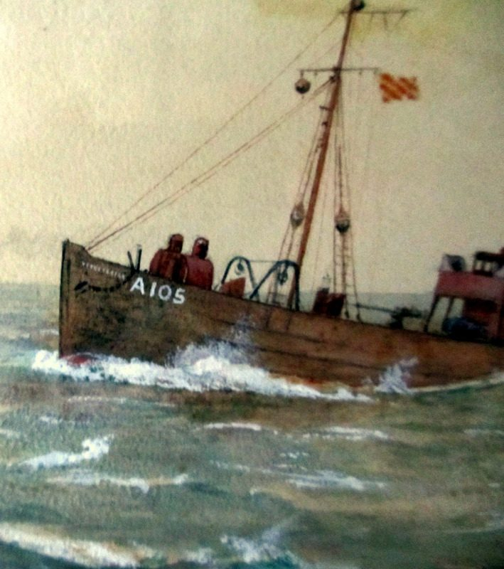 Minesweeper ST Stratherrick A105 off the coast, watercolour and gouache, R. Gurnell, 1914. Detail.