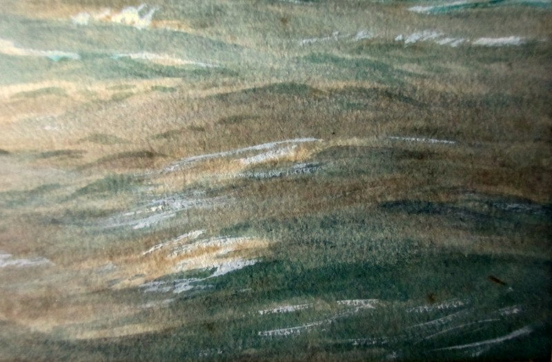 Minesweeper ST Stratherrick A105 off the coast, watercolour and gouache, R. Gurnell, 1914. Detail. Lower rh corner.