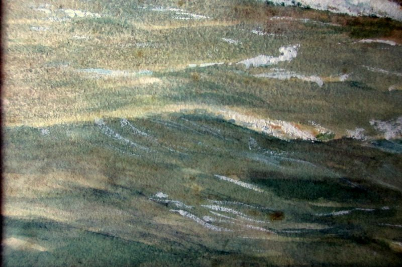 Minesweeper ST Stratherrick A105 off the coast, watercolour and gouache, R. Gurnell, 1914. Detail. Lower lh corner.