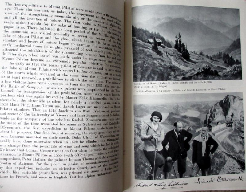 Pilatus The Mountain and its Railway, 1939. 1st Edn. Hardback. Detail.