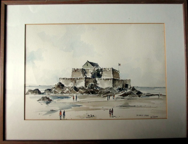 St. Malo France, pen, ink and watercolour, signed W. Kozak 1984.
