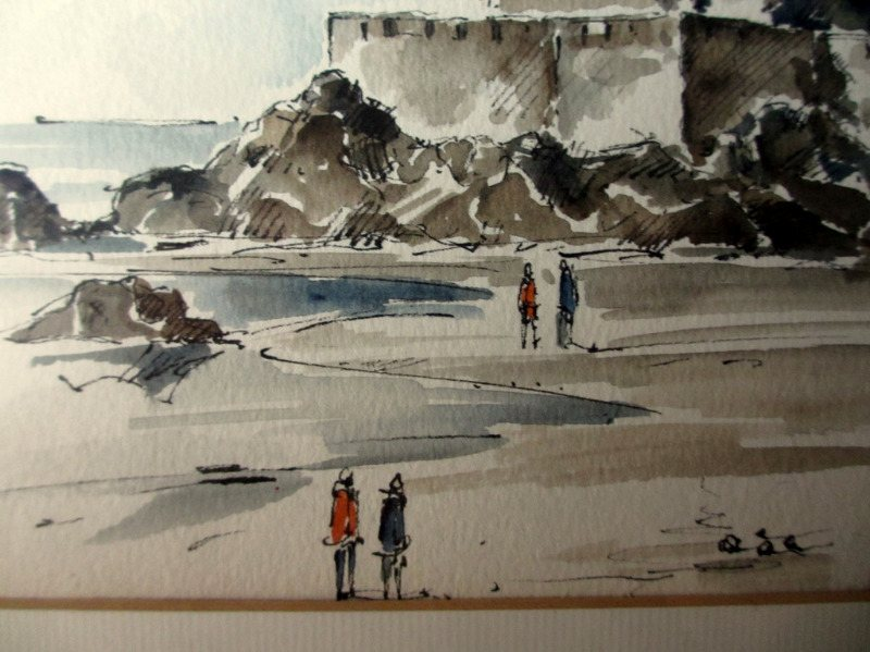 St. Malo France, pen, ink and watercolour, signed W. Kozak 1984. Detail.