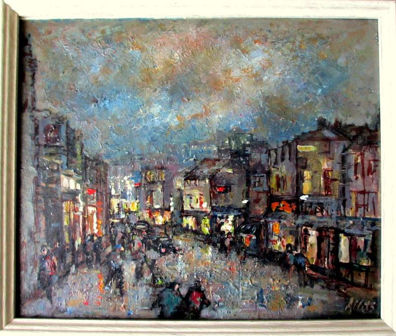 Street Scene Helston at Night, oil on board, Allets. c1975.