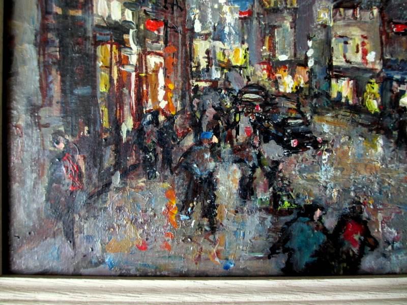 Street Scene Helston at Night, oil on board, Allets. c1975. Detail.