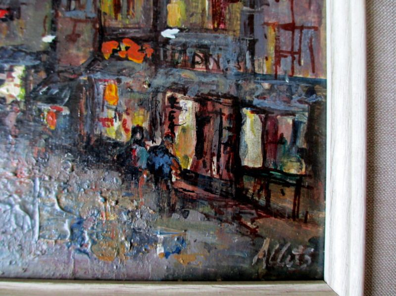 Street Scene Helston at Night, oil on board, Allets. c1975. Detail.