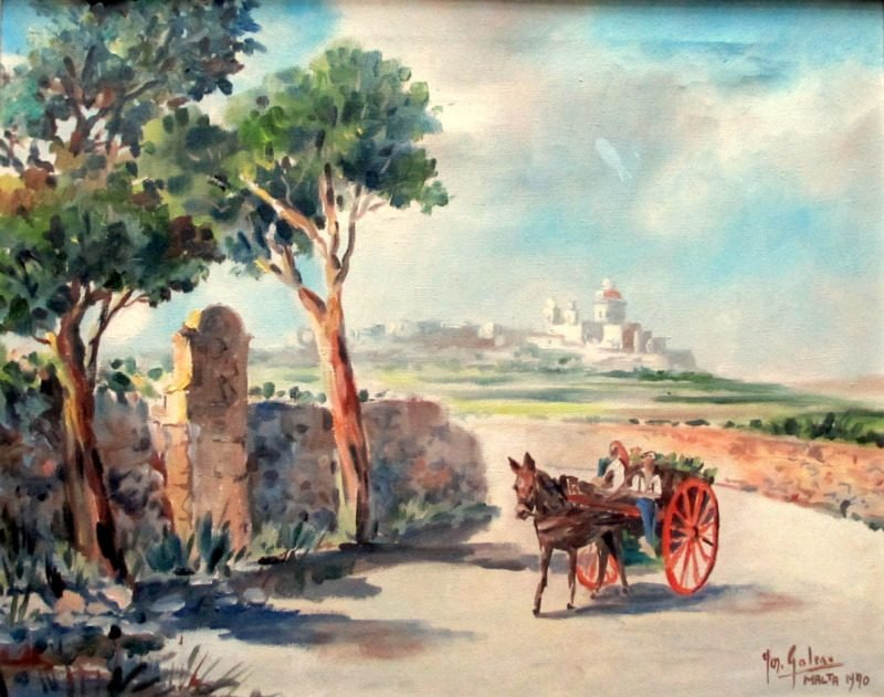Horse and Cart on Road to Market near Mdina, oil on canvas, signed Jos. Galea 1970.