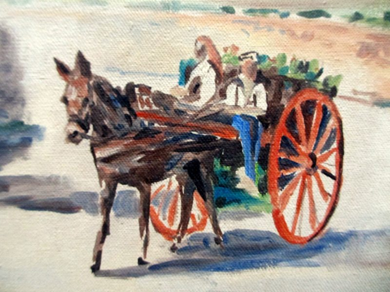 Horse and Cart on Road to Market near Mdina, oil on canvas, signed Jos. Galea 1970. Detail.