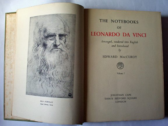 The Notebooks of Leonardo Da Vinci by Edward MacCurdy Vols I and II 1948 5th Impression.