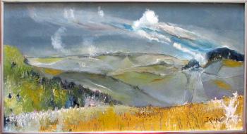 Impressionist Rolling Hills Landscape, oil on board, signed J. Cooper. c1970.
