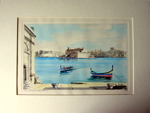 The Grand Harbour, Valletta, watercolour on card, signed Jos. Galea Malta 1