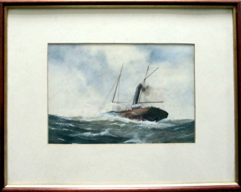 Paddle Steamer in Moderate Swell, watercolour & gouache, signed R.P. Milliken, c1975.