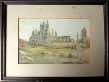 Whitby Abbey, watercolour on paper, titled and signed initials GW. George Weatherill, c1850.