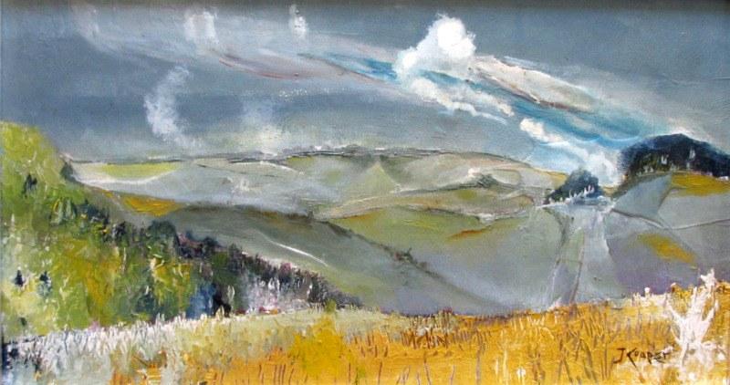 Impressionist, impasto, Rolling Hills Landscape, oil on board, signed J. Cooper. c1970.