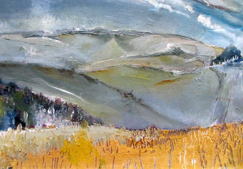Impressionist, impasto, Rolling Hills Landscape, oil on board, signed J. Cooper. c1970. Detail.