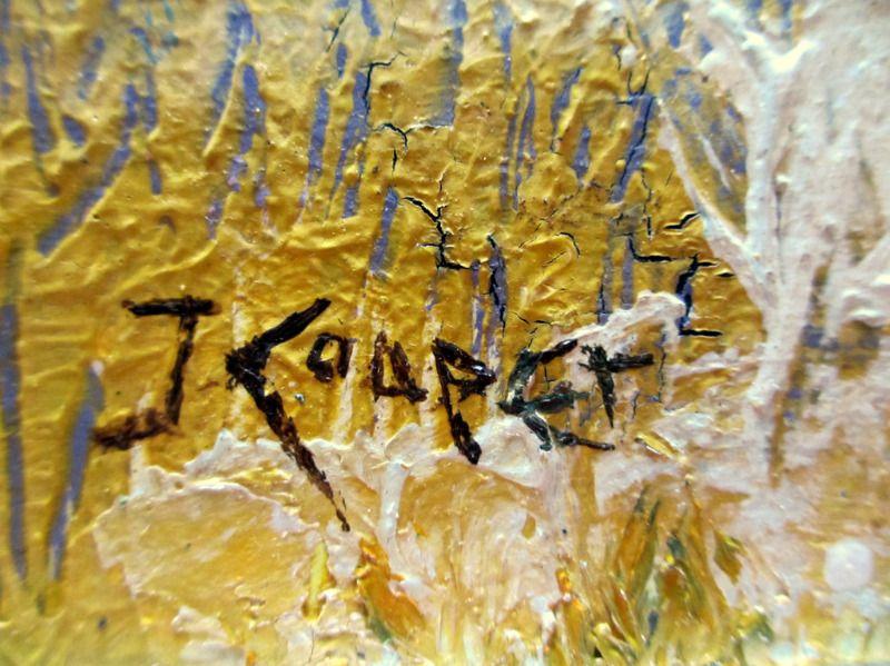 Impressionist, impasto, Rolling Hills Landscape, oil on board, signed J. Cooper. c1970. Detail. Signature.