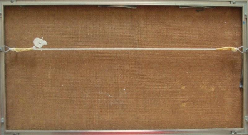 Impressionist, impasto, Rolling Hills Landscape, oil on board, signed J. Cooper. c1970. Detail. Frame, verso.