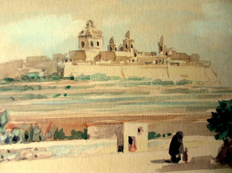 Mdina. The Old City, watercolour on card, signed Jos. Galea Malta 1965. Detail.