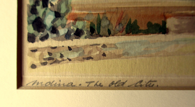 Mdina. The Old City, watercolour on card, signed Jos. Galea Malta 1965. Detail. Title in pencil handscript lower lh border.