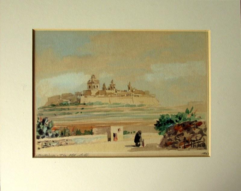 Mdina. The Old City, watercolour on card, signed Jos. Galea Malta 1965.